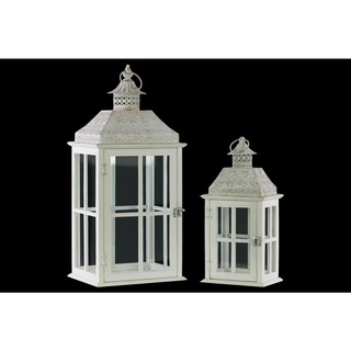 Wood Square Lantern with Pierced Metal Top, Glass and Cross Line Design Side, and Ring Handle Set of Two Coated Finish White