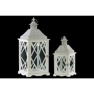Wood Square Lantern with Pierced Metal Top, Glass and Diamond Design Side, and Ring Handle Set of Two Coated Finish White