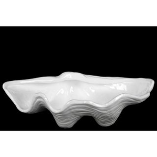 Ceramic Open Valve Clam Seashell Sculpture Gloss Finish White