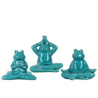 Distressed Glossy Blue Finish Ceramic Meditating Sitting Frog Figurine (Set of 3)