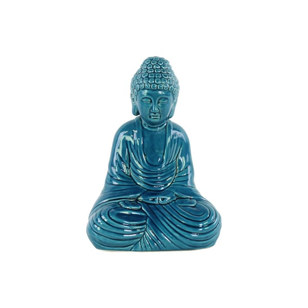 Glossy Turquoise Finish Ceramic Meditating Buddha Figurine with Rounded Ushnisha in Dhyana Mudra. Opens flyout.