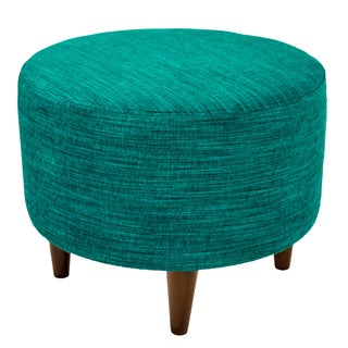 MJL Furniture Sophia Lucky Round Upholstered Ottoman (Option: Turquoise)