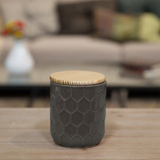 Glossy Taupe Finish Ceramic Small Round Canister with Embossed Hexagon Pattern and Wood Lid