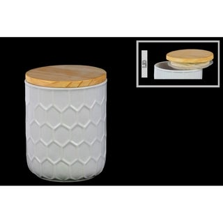 Glossy White Finish Ceramic Small Round Canister with Embossed Hexagon Pattern and Wood Lid