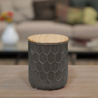 Glossy Taupe Finish Ceramic Large Round Canister with Embossed Hexagon Pattern and Wood Lid