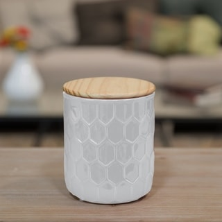 Glossy White Finish Ceramic Large Round Canister with Embossed Hexagon Pattern and Wood Lid