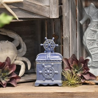 Blue Ceramic Rectangular Canister with Wheel Body and Lid