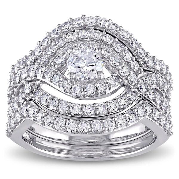 Miadora Signature Collection 14k White Gold 1 7/8ct TDW Diamond Crossover Multi-row Bridal Ring Set