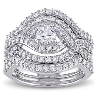 Miadora Signature Collection 14k White Gold 1 7/8ct TDW Diamond Crossover Multi-row Bridal Ring Set (G-H, I1-I2)