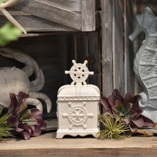 Ceramic White Distressed Coated Rectangular Canister with Wheel Design