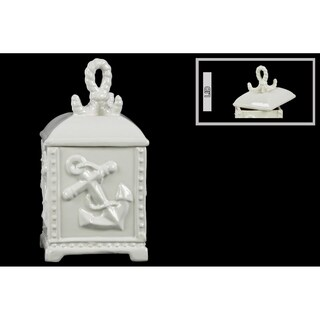 Ceramic White Distressed Coated Rectangular Canister with Anchor Design