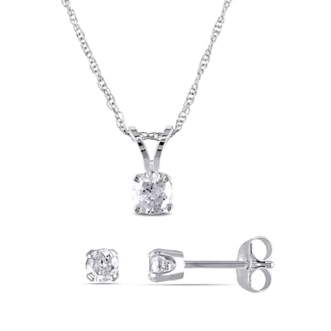 Miadora 14k White Gold 5/8ct TDW Diamond Solitaire Necklace and Stud Earrings Jewelry Set
