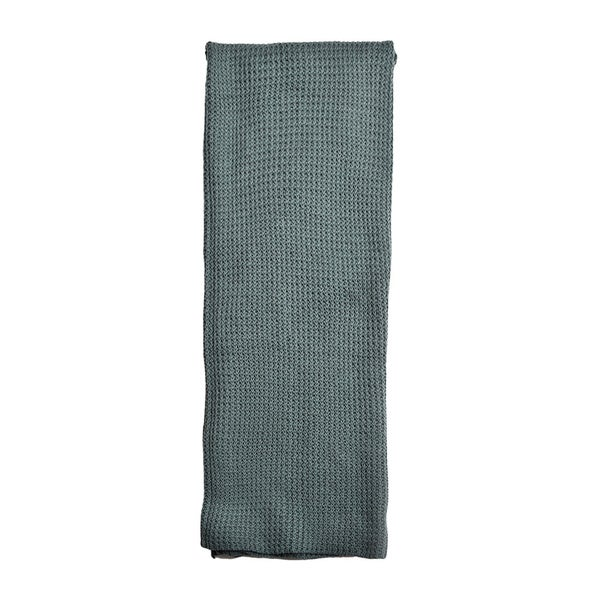 Drake Teal Knitted Cotton Throw