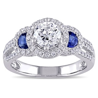 Miadora Signature Collection 14k White Gold Sapphire 1 1/3ct TDW Certified Diamond Halo Split Shank Engagement Ring (M, VVS2)