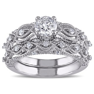 Miadora Signature Collection 10k White Gold 1 1/4ct TDW Diamond Vintage Filigree Bridal Ring Set