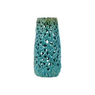 Large Ceramic Turquoise Gloss Cylindrical Vase with Uneven Lip and Cutout Design