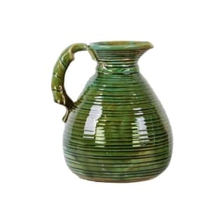 Ceramic Green Gloss Grapes Design Pitcher with Round Belly and Side Handle