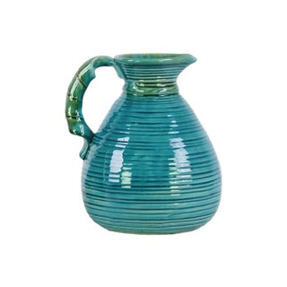 Ceramic Turquoise Gloss Grapes Design Pitcher with Round Belly and Side Handle
