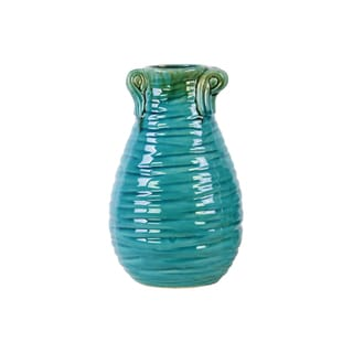 Ceramic Turquoise Gloss Ribbed Design Round Belly Vase with Handle