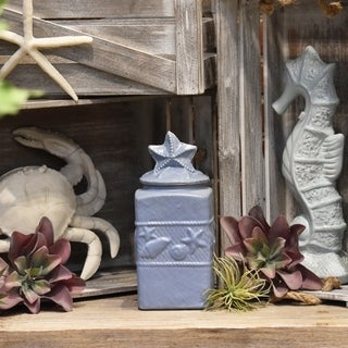 Blue Finish Small Ceramic Square Canister with Coastal Design Body and Star Design Lid