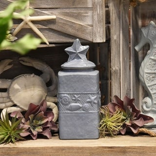 Large Coated Blue Finish Ceramic Square Canister with Coastal Design Body and Star Design Lid