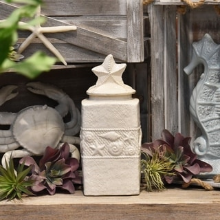 Large Coated White Finish Ceramic Square Canister with Coastal Design Body and Star Design Lid