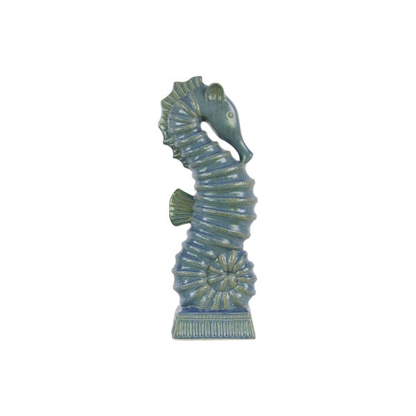 Large Distressed Blue Finish Ceramic Seahorse Figurine on Rectangle Ribbed Base