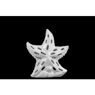 Small Gloss White Finish Ceramic Sea Star Figurine with Cutout Design on Shell Base