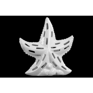 Large Gloss White FInish Ceramic Sea Star Figurine with Cutout Design on Shell Base