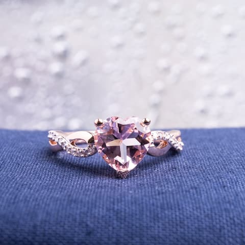 Miadora 10k Rose Gold Heart Shaped Morganite and 1/10ct TDW Diamond Twist Ring (G-H, I2-I3) - Pink