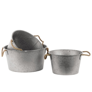 Galvanized Finish Silver Zinc Short Round Bucket with Rope Handles (Set of 3)