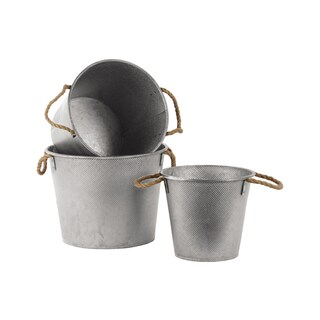Galvanized Finish Silver Zinc Tall Round Bucket with Rope Handles (Set of 3)