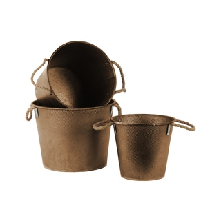 Galvanized Finish Bronze Zinc Tall Round Bucket with Rope Handles (Set of 3)
