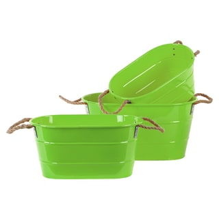 Coated Finish Green Zinc Oval Bucket with Rope Handles (Set of 3)