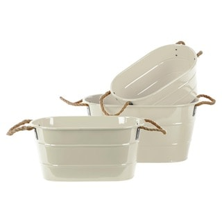 Coated Finish White Zinc Oval Bucket with Rope Handles (Set of 3)