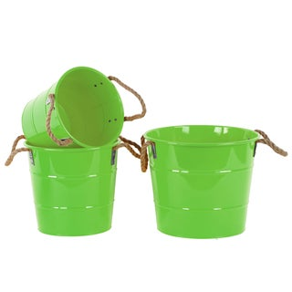 Coated Finish Green Zinc Round Bucket with Rope Handles (Set of 3)