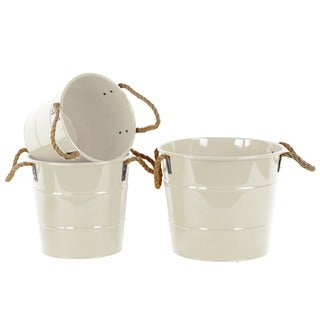 Coated Finish White Zinc Round Bucket with Rope Handles (Set of 3)