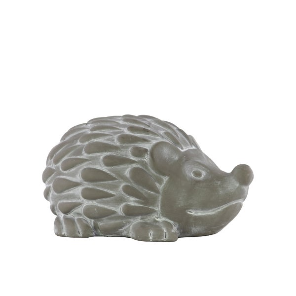 Small Washed Concrete Finish Grey Cement Standing Hedgehog Figurine