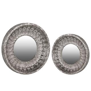 Metallic Finish Silver Metal Round Wall Mirror with Parquet Design Frame (Set of 2)