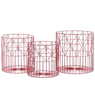 Coated Finish Red Metal Wide Round Nesting Basket with Mesh Wire Design (Set of 3)