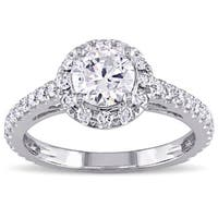 Miadora Signature Collection 14k White Gold 1 1/5ct TDW Diamond Halo Engagement Ring