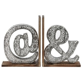 "UTC21702-AST: Metal Alphabet ""@&"" Bookend with Weathered Wood Base Assortment of Two Electroplated Finish Silver"