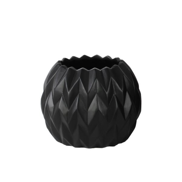 UTC21434: Ceramic Round Low Vase with Uneven Lip and Embossed Wave Design SM Matte Finish Black