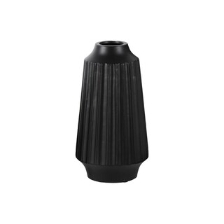 Matte Black Ceramic Large Ribbed Round Lip Round Vase