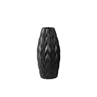 UTC21429: Ceramic Rounded Bellied Vase with Round Lip and Embossed Wave Design SM Matte Finish Black