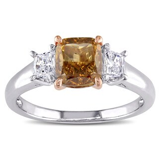Miadora Signature Collection 14k Two-tone Gold 1 3/4ct TDW Certified Brown and White Diamond 3-stone