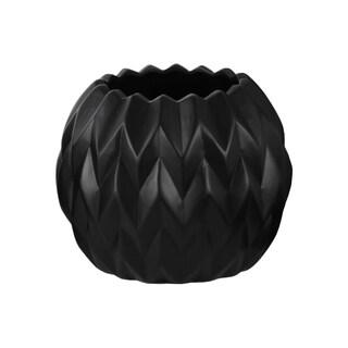 Matte Black Ceramic Large Round Low Embossed Wave Uneven Lip Vase