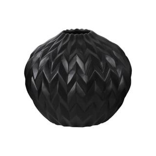 UTC21432: Ceramic Round Low Vase with Round Lip and Embossed Wave Design Matte Finish Black
