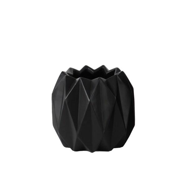 UTC21431: Ceramic Round Short Vase with Uneven Lip and Ribbed Body Design Matte Finish Black