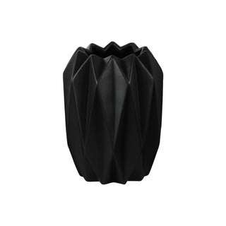 UTC21430: Ceramic Round Tall Vase with Uneven Lip and Ribbed Body Design Matte Finish Black